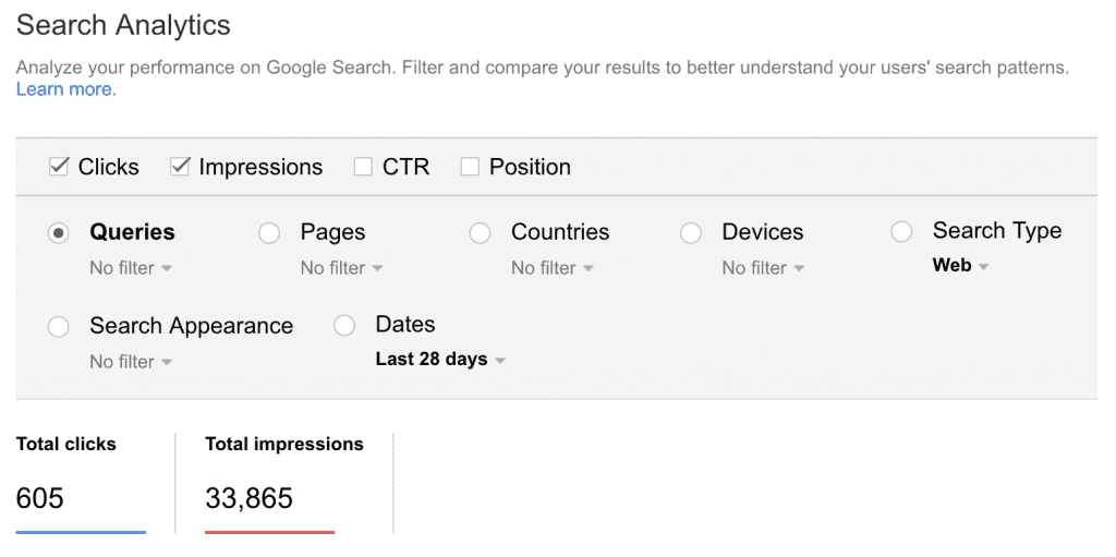 Google Search Console - Search Analytics
