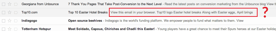 Email marketing mistake: Wrong Preview text