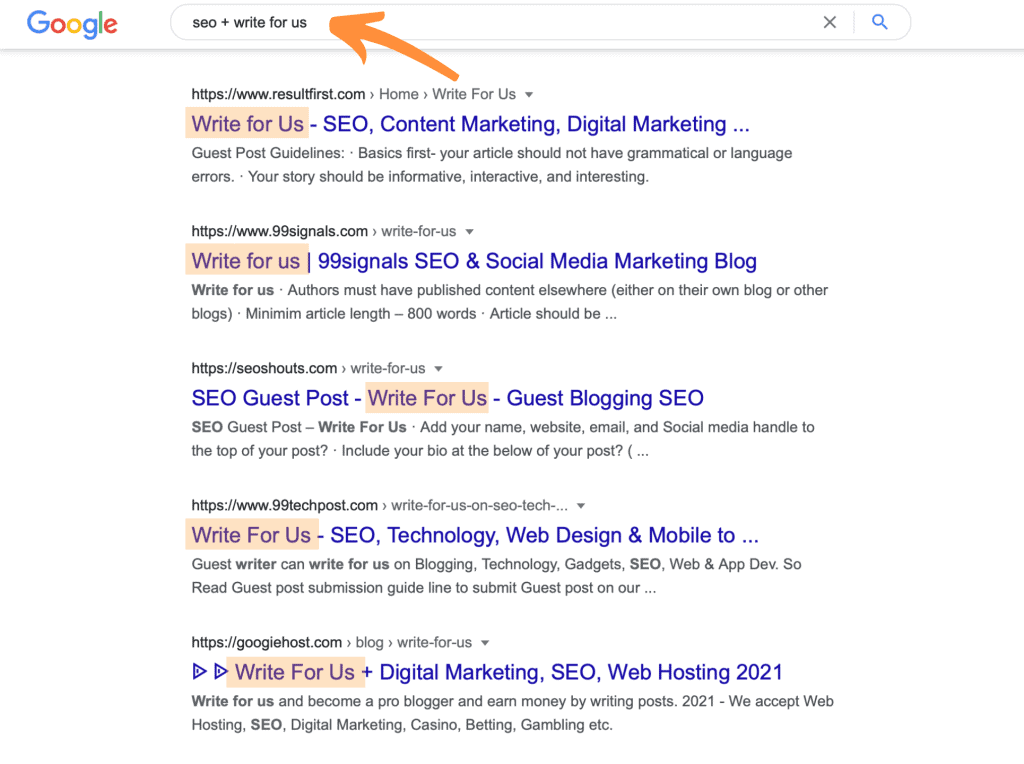 seo+write for us Example