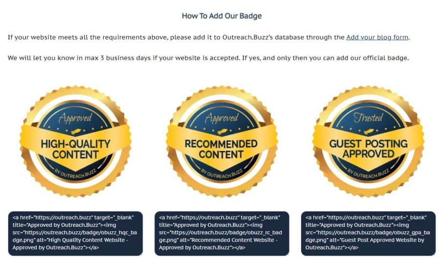 OutreachBuzz offers badges for selected blogs